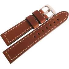 20mm Fluco Snow Calf Mens German Made Tan Leather Pilot Watch Band Strap