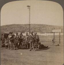 Pretoria Railway Station. Oom Paul's Lost Capital, Pretoria. Boer War Stereoview