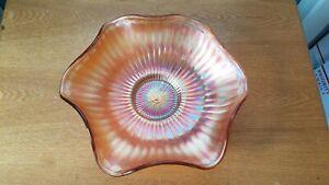 Vintage Marigold Ribbed and Ruffled Carnival Glass 9 1/4-Inch Bowl