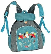 Cotton Backpack Blue EARTH DIVAS Colorful Flowers Drawstring Closure Boho