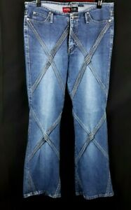 Younique Women's Junior's Medium Wash Bootcut Embroidered Stretch Jeans Size 11