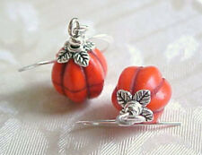 Mini Orange Pumpkin Earrings Minimalist Halloween Fall Thanksgiving Moon Phase