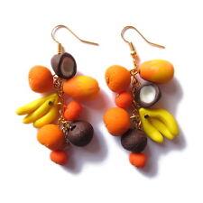 handmade orange yellow banana coconut fruit vegetarian food big earrings jewelry