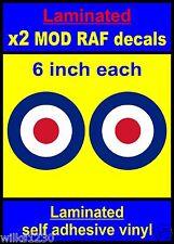 Laminato 2x 6 in (ca. 15.24 cm) RAF COCCARDA adesivi che il Bersaglio Mod Scooter Decalcomanie Vespa