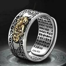 Unisex Pixiu Charms Ring Feng Shui Amulet Wealth Lucky Open Adjustable Ring UK!