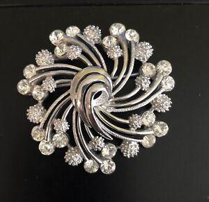 Vintage Brooch Crown Trifari Swirl Silver Tone Pin