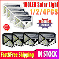 100 LED Solar Powered PIR Motion Sensor Light Outdoor Garden Security Wall 2020