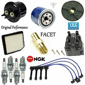 Tune Up Kit Filters Cap Rotor PCV Wire Plugs for Honda CRX Base; HF; 1.5L 89-91
