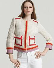 TORY BURCH FARROW SLUBBY GRID TWEED JACKET COAT- SIZE 0