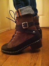 UGG Collection Sassari warm Lace up Army Combat Ankle Boots ITALY 10.5 11 12 WOW