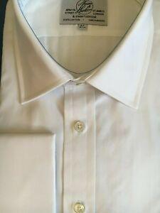 "Harvie & Hudson 19""/35"" Two Fold 100% Cotton White Poplin Double Cuff Shirt"