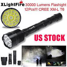 XLightFire 30000 Lumens 12 LED CREE XML T6 5 Mode 18650 Super Bright Flashlight