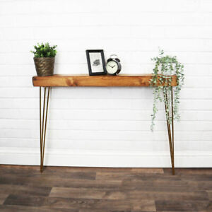 Console Radiator Table Gold Hair Pin Legs Solid Reclaimed Timber 14CM X 7CM