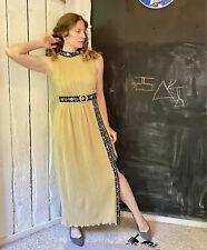 Vintage 70s Metallic Gold Black Rose Accordian Pleat Maxi Dress Gown size M/L