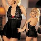 Lingerie Halter Chemise Stretch Lycra Net Babydoll w Thong AU Sizes S/ M or L/XL