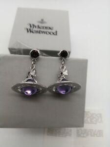 Vivienne westwood purple  3D Orb earrings Silver Tone