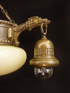 Jugendstil Kronleuchter Deckenlampe um 1910/20 Messing Glas Adler restauriert