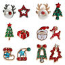 Hot Christmas Tree Snowman Deer Bell Ear Studs Xmas Party Earrings Jewelry Gifts