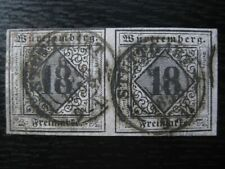 WURTTEMBERG GERMAN STATES Mi. #5 rare used stamp pair! CV $3,600.00