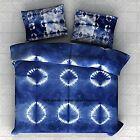 Indigo Shibori Indian Cotton Bedspread Queen Tie Dye Bedding With 2 Pillow Cover