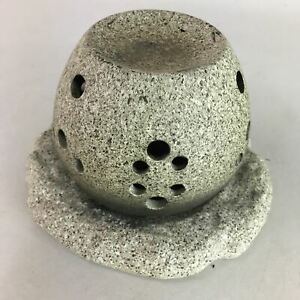 Japanese Ceramic Candle Aroma Oil Diffuser Vtg Pottery Stone Domed Lid PT820