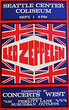 Led Zeppelin      1970  Vintage  Concert  Poster  Seattle Washington