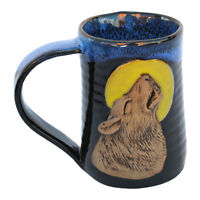 "MUGS - ""HOWLING WOLF"" HANDMADE POTTERY MUG - BLUE ON BLACK - 3D TANKARD"