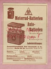 BERLIN, Werbung 1932, Accumulatoren-Fabrik Curt Gorschalki & Co. Motorrad-Batter