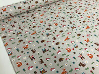 Woodland Farm Owls Fox Squirrel Cotton Fabric Curtain Upholstery Quilting Crafts