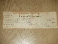 VINTAGE 1919 Cancelled Check First National Bank Prague Oklahoma Micawber Gin OK