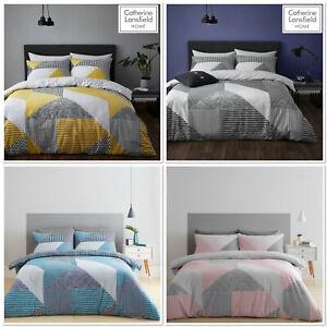 Catherine Lansfield Larsson Geo Easy Care Reversible Duvet/Bedding Set 4 Colours