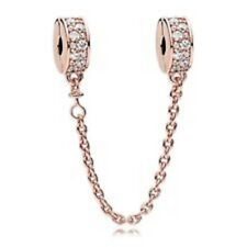 AUTHENTIC PANDORA ROSE COLLECTION SHINING ELEGANCE SAFETY CHAIN #786322CZ BOX