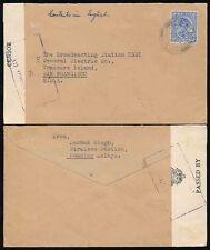 MALAYA PAHANG KUANTAN WW2 CENSORED to TREASURE ISLAND SAN FRANCISCO KGEI 12c