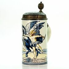 Mettlach 5024 / 5394 Antique Faience German Lidded Beer Stein - Mercury 1901