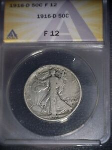 1916-D Walking Liberty Half Dollar, ANACS F12,. Tough Date, Issue  Free