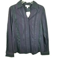 Coldwater Creek Womens Top Small Purple Chenille Textured Striped Blouse Button