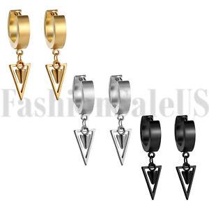 2pcs Men Women Punk Stainless Steel Hoop Spike Circle Huggie Studs Earrings Gift