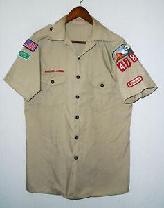 BOY SCOUTS Of America Uniform Shirt BSA #478 Scout Vtg USA Adult Mens Medium MD