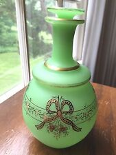 French green opaline decorated perfume bottle uranium glass