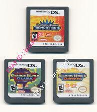 3pcs Nintendo Digimon World Dusk+Dawn+Championship Version Game Card for 3DS DSI