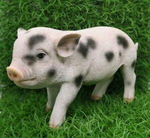 PIG STANDING MINI FARM ANIMAL GARDEN STATUE ORNAMENT FIGURINE WHITE AND BLACK