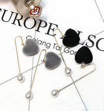 Trendy Charm Womens Heart Shape Velvet Preal Drop Dangle Ear Stud Hook Earrings