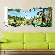 3D Jurassic World Dinosaur Scroll Vinyl Mural Wall Decal Sticker UK