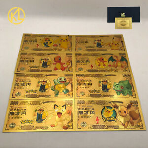 8pcs Pokemon Pikachu Collective Original Anime Gold banknotes set New Year Gift