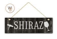 "SHIRAZ Wine Sign, Dark Rustic Wood Style, 5.5"" x 17"" Sign, Wine Bar"