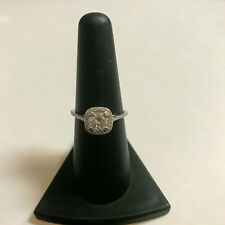 14kt White Gold Moissanite and Diamond Halo Engagement Ring Size 7.5