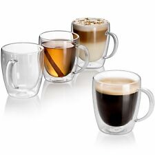 Set of 4 Strong Clear Glass Double Wall Coffee Mug Tea Espresso Cup 10 oz