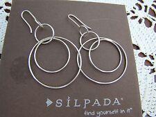 "Circle Hoop Earrings W1237 Silpada Sterling Silver ""Space Out"""