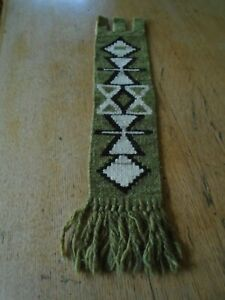 VINTAGE HAND  CRAFTED WOVEN WOOL WALL HANGING