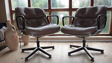 TOP PROVENANCE 2 VINTAGE ORIGINAL CHARLES POLLOCK CHAIRS IN RARE BROWN  LEATHER